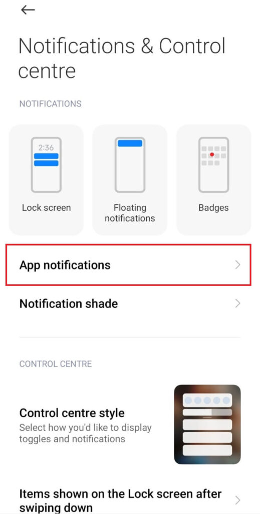 App option in android settings