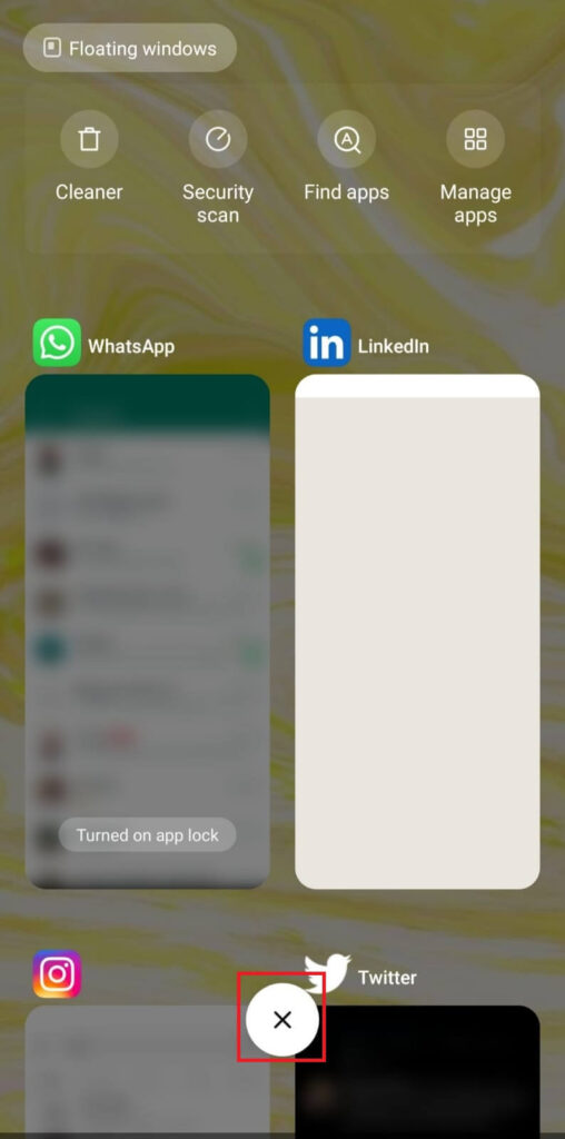 Close WhatsApp from background