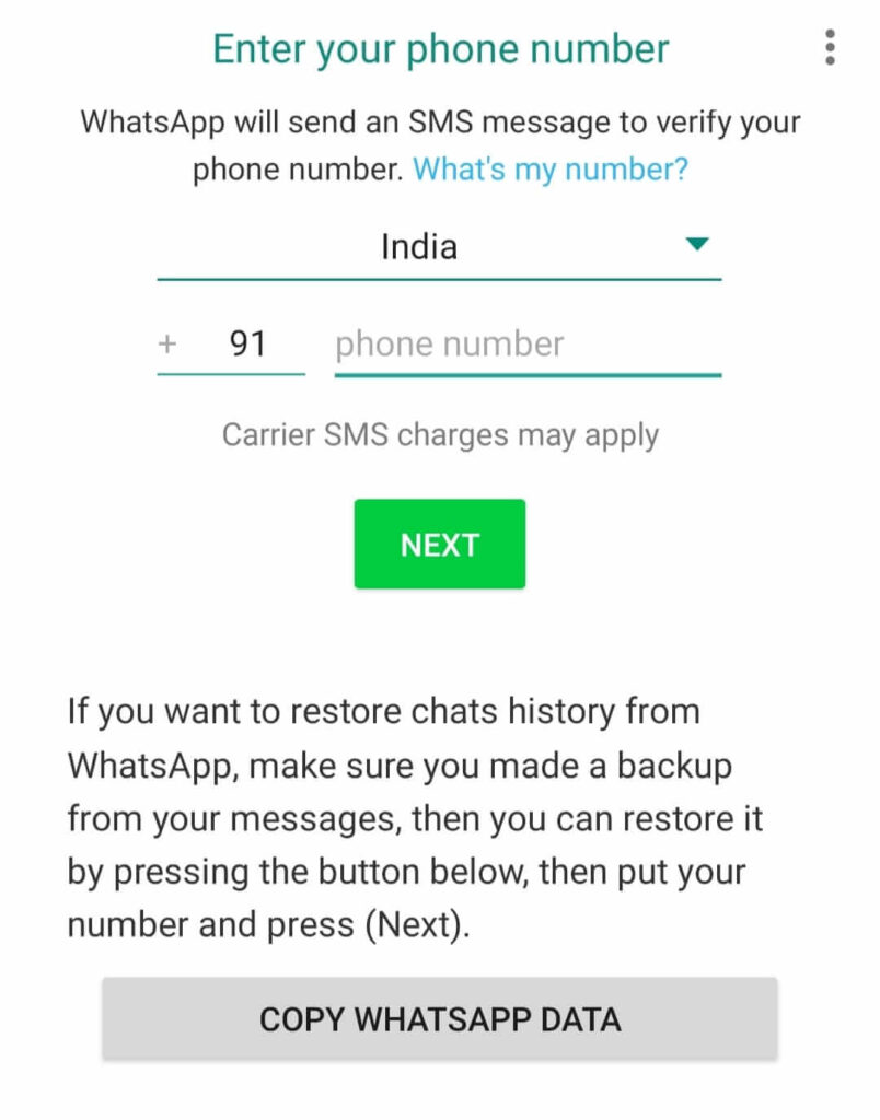 Verify WhatsApp number on GB WhatsApp before hiding your online status